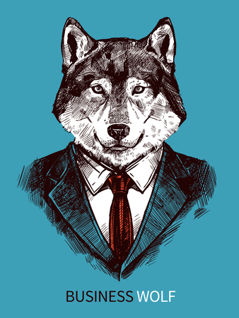 56987892 - hand drawn poster of business wolf in suit portrait on blue background fashion vector illustration