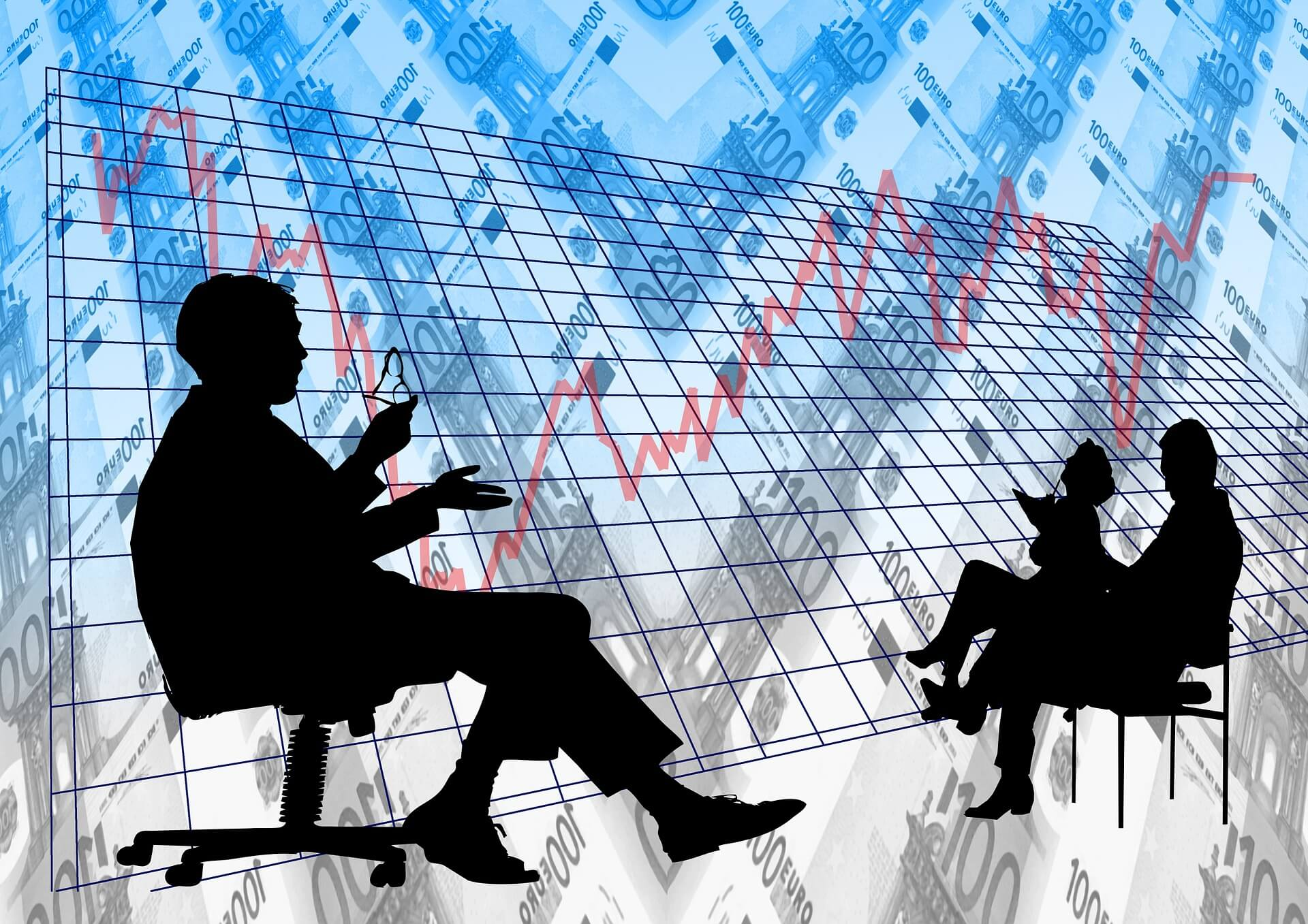 graph-red-lines-fluctuations-people-sitting-discussing